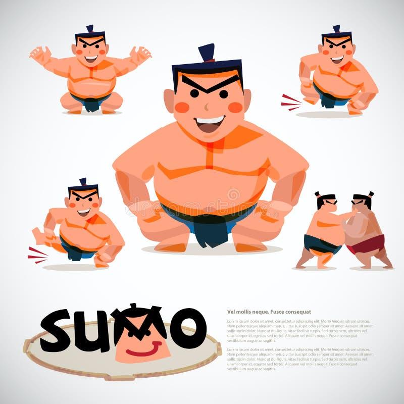 Lottatore di sumo nell'insieme di azione progettazione di carattere, traditi giapponese illustrazione vettoriale