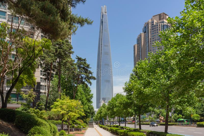 Lotte tower in Seoul stock photography