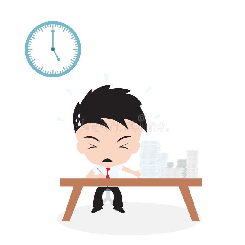 Lotten av jobb att göra och affärsmannen som arbetar med, rusar tid, på vit bakgrund, vektorillustrationen i plan design royaltyfri illustrationer
