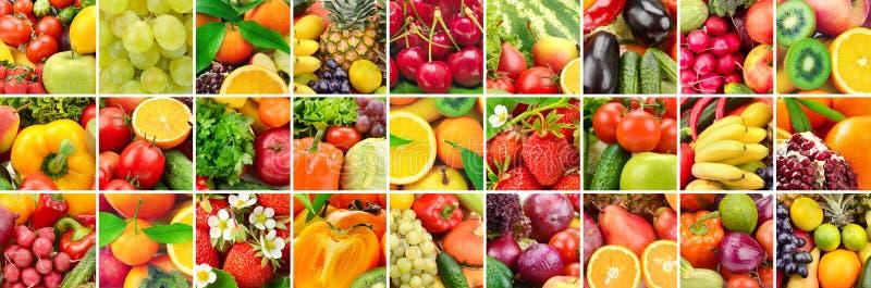 Lotten avbildar frukter, grönsaker och bär i ram arkivbild