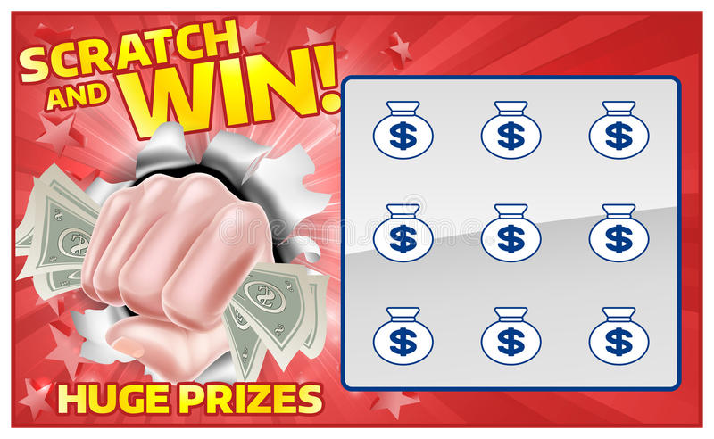 Lotteri Scratchcard stock illustrationer
