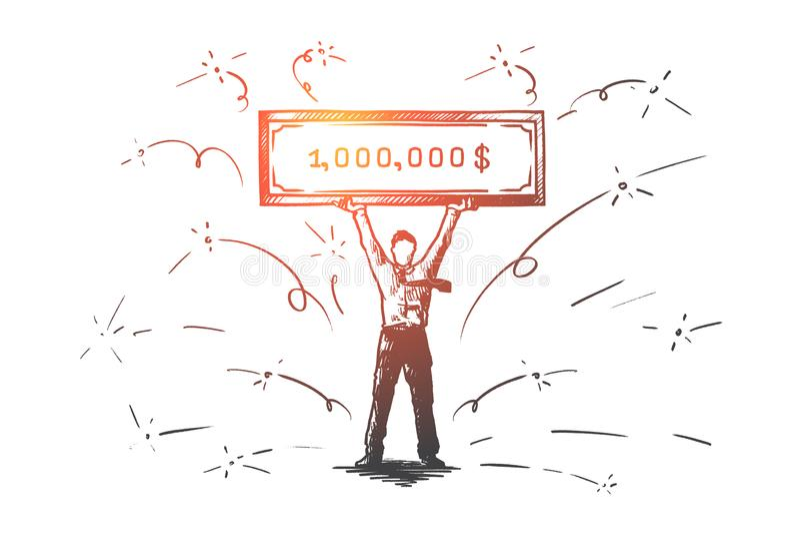 Lotterie, Gewinn, Geld, Million, Jackpotkonzept Hand gezeichneter lokalisierter Vektor stock abbildung