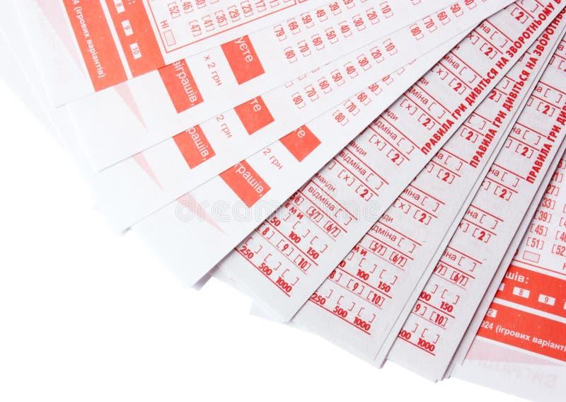 Lotteriekarten lizenzfreies stockbild