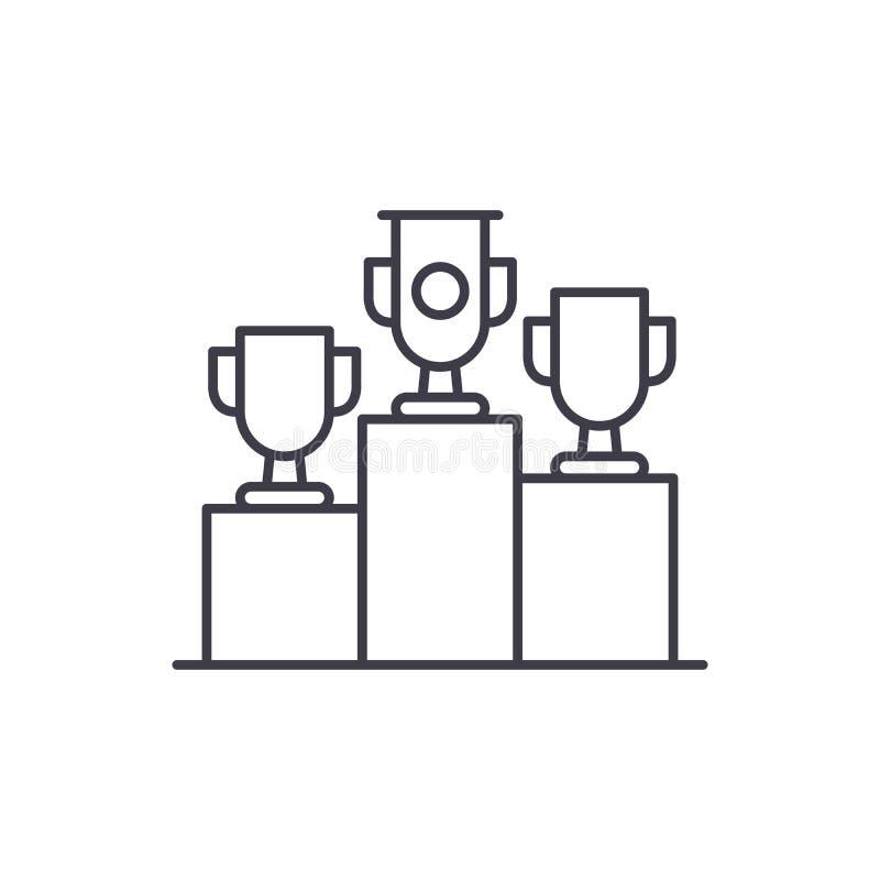 Lotteriepreise zeichnen Ikonenkonzept Lineare Illustration des Lotteriepreis-Vektors, Symbol, Zeichen stock abbildung