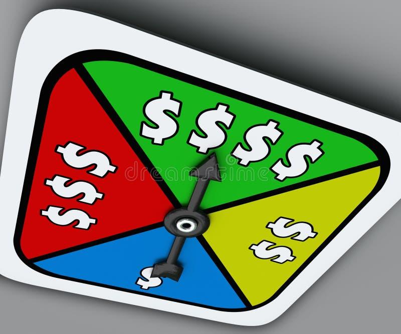 Lotterit för rikedom för segern för spinnaren för leken för brädet för dollartecknet tar möjlighet stock illustrationer