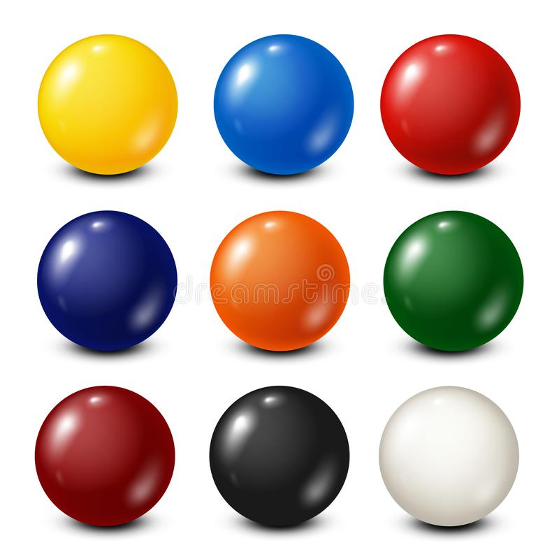 Lottery, billiard,pool balls collection. Snooker. White background. Vector illustration. royalty free illustration