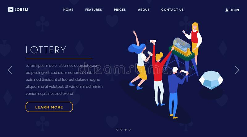 Lottery game landing page isometric template. Casino playing and gambling business website homepage 3D layout. Players stock illustration