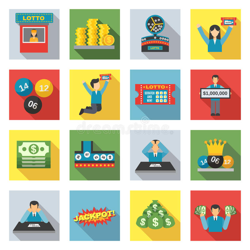 Lottery Icons Flat Set. Lottery winning and luck games icons flat set vector illustration royalty free illustration