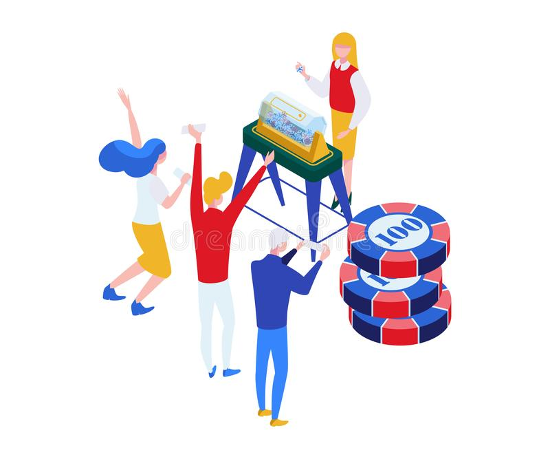 Lottery players and host isometric illustration. Gamers holding lottery tickets, happy lucky jackpot winners faceless. Characters. Balls rotation machine, lotto vector illustration