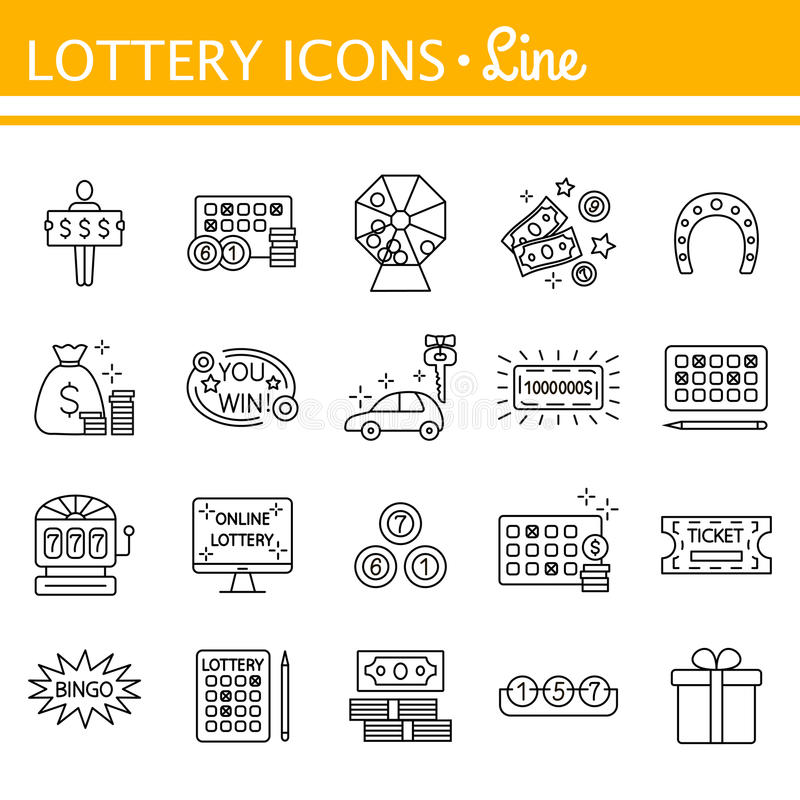 Lottery and profit fortune games black icon set isolated stock illustration