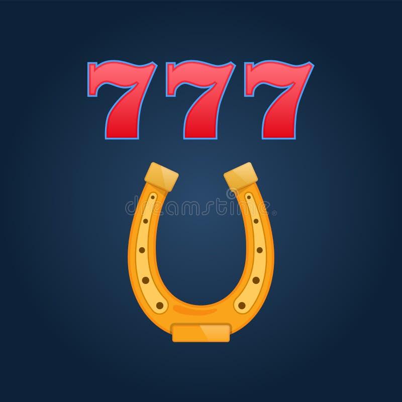 Lottery, slot casino, jackpot winnings, 777, triple draw, horseshoe happiness. vector illustration