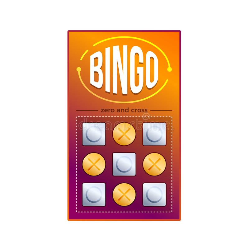 Lottery ticket for drawing money, prizes. Bingo game with numbers. stock illustration