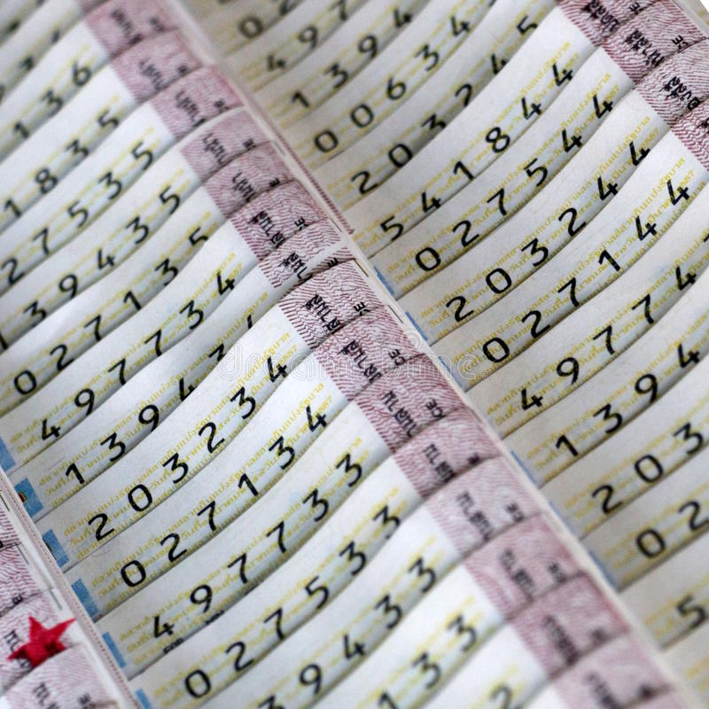 Lottery tickets. Arrays of Thai official lottery tickets royalty free stock image