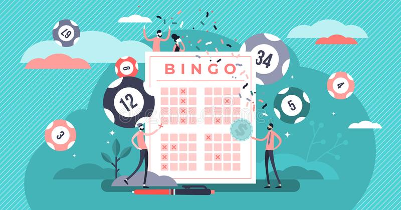 Lottery vector illustration. Flat tiny bingo game win luck persons concept. royalty free stock images