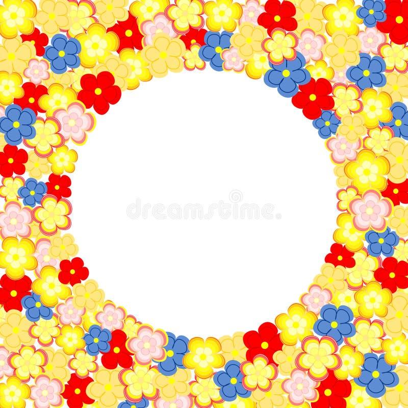 Lotti dei fiori variopinti e di grande casella di testo circolare royalty illustrazione gratis