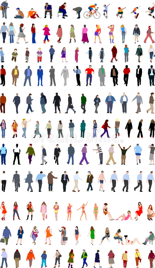 Lotti delle illustrazioni della gente illustrazione vettoriale