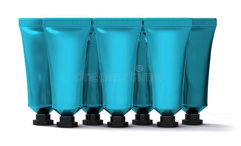 Lotto dei tubi crema blu-chiaro illustrazione di stock