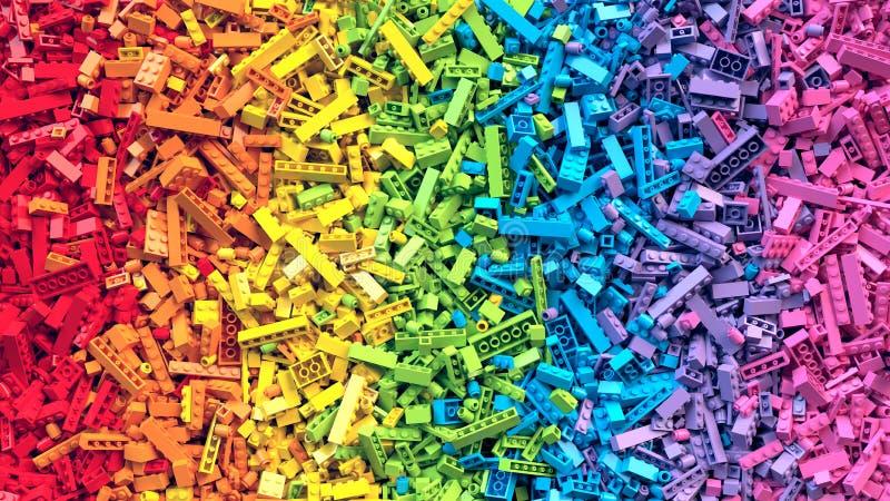 Lotto del fondo variopinto dei mattoni del giocattolo dell'arcobaleno illustrazione di stock
