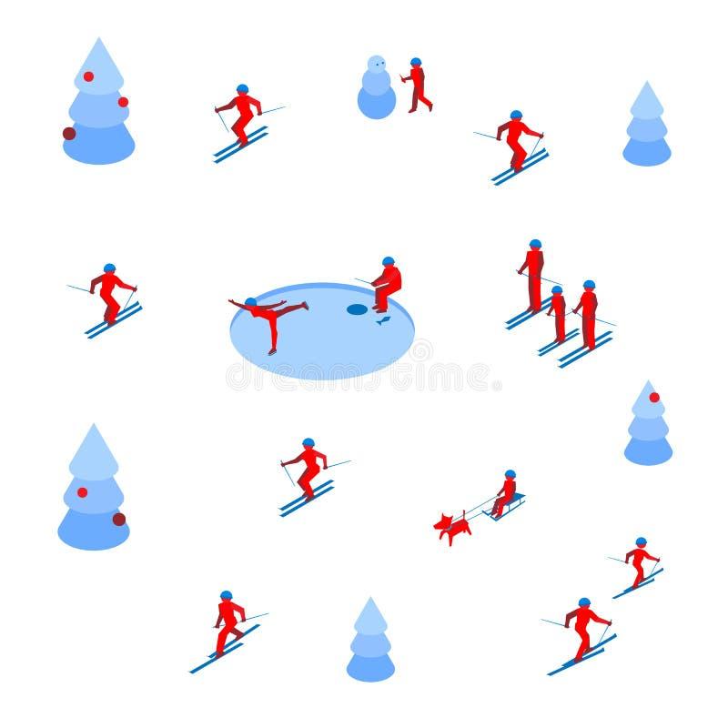 Lotto della gente che scia e che pattina sul fondo bianco illustrazione di stock
