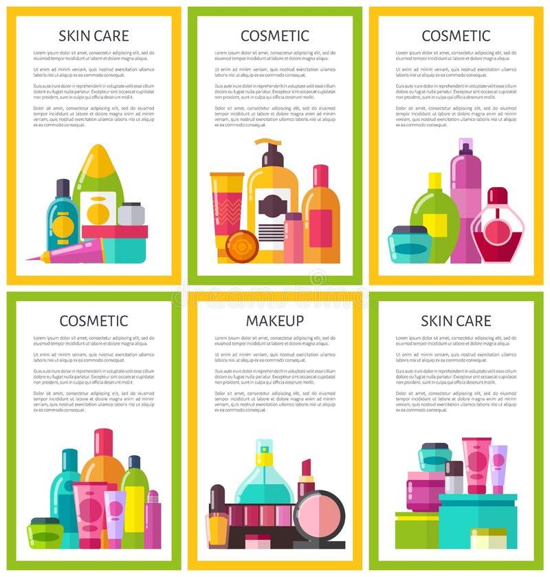 Lotto delle insegne cosmetiche di colore di trucco di cura di pelle illustrazione di stock