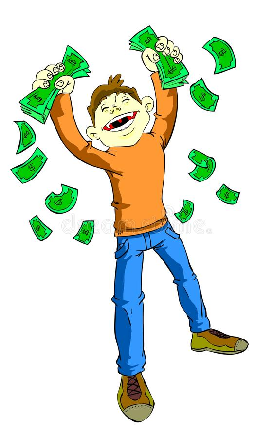 Lotto prize. Funny illustration of a men that has got a good amount of money in his hands. Perfect for a representation of success, for lotto web pages stock illustration