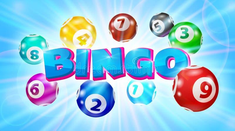Lottobollar runt om den glödande blåa bakgrunden för ordBingo royaltyfri illustrationer