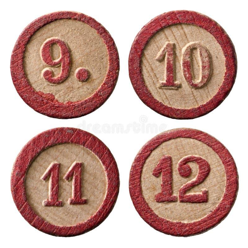 Lottot numrerar nio tio elva tolv royaltyfria foton