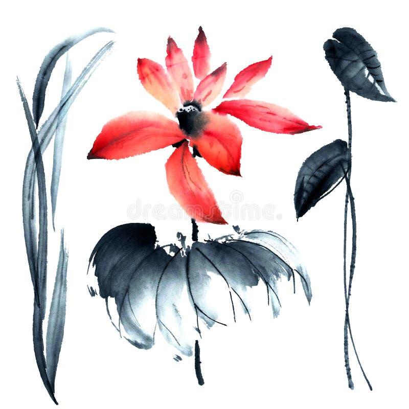 Lotus απεικόνιση λουλουδιών απεικόνιση αποθεμάτων