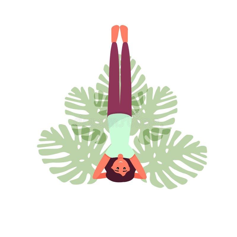 Η γιόγκα θέτει τη διανυσματική απεικόνιση Κορίτσι που κάνει τη γιόγκα Γυναίκα γιόγκας Lotus απεικόνιση αποθεμάτων