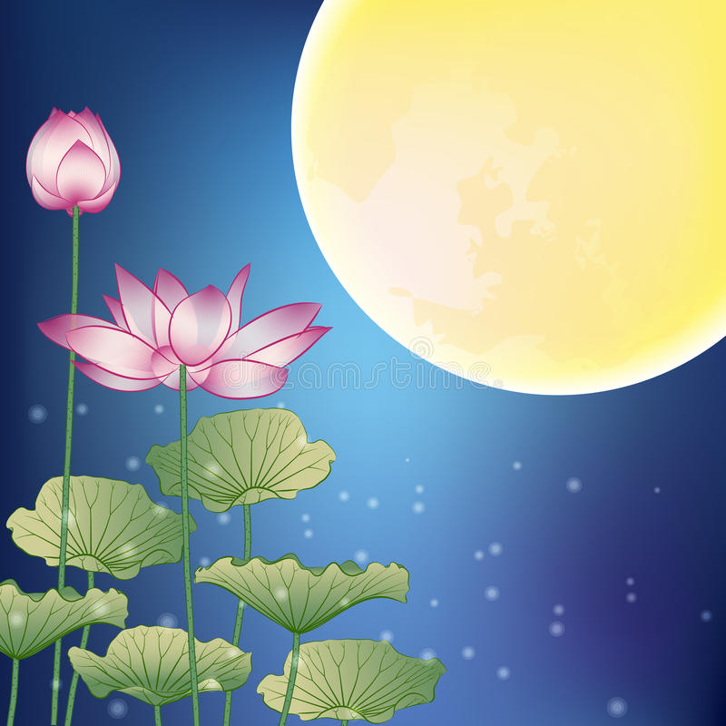 Free Lotus And Moon At Night Stock Photos - 26533813