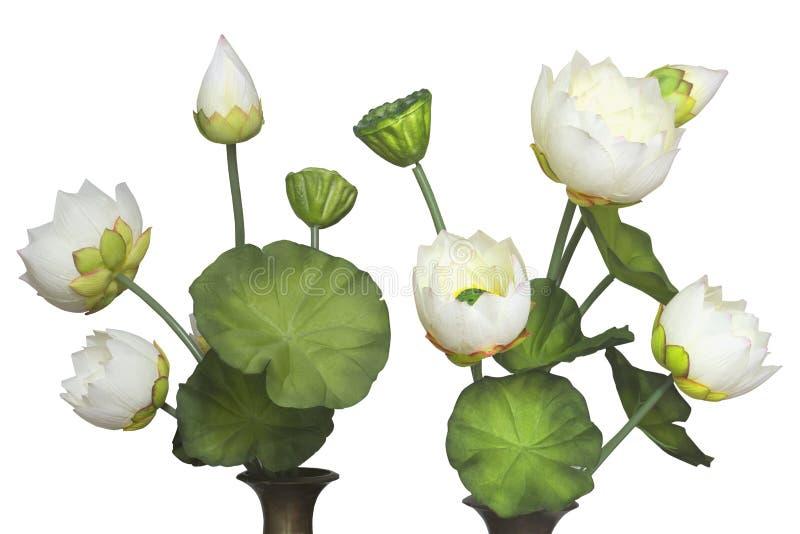 Lotus artificiel avec le fond blanc images stock