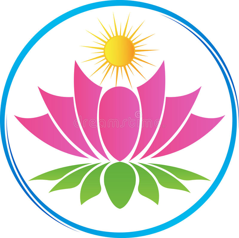 Lotus avec le soleil illustration stock