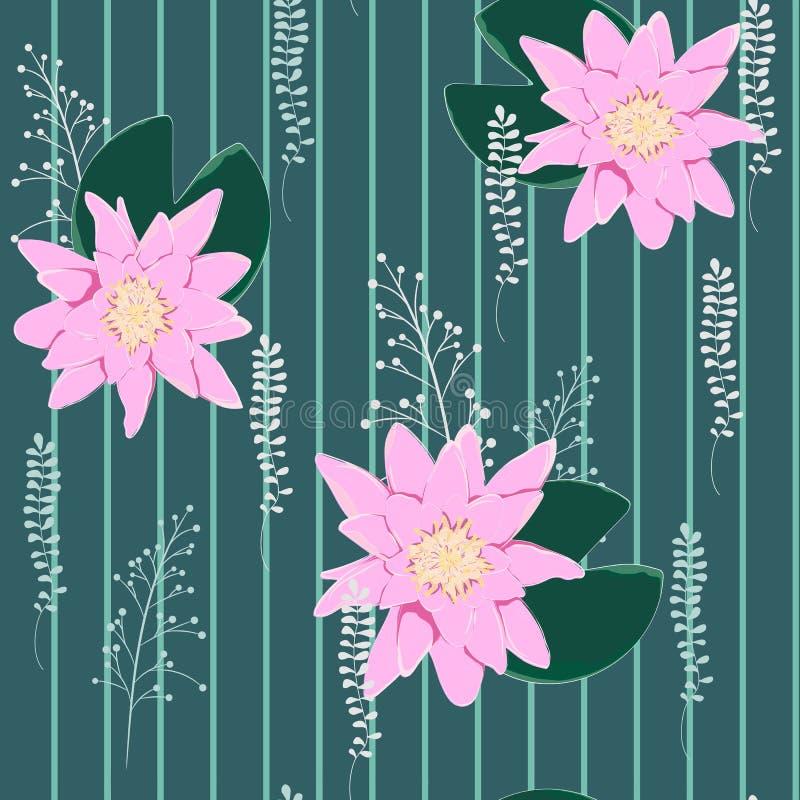 Lotus Background Bloemenpatroon met waterlelies royalty-vrije illustratie