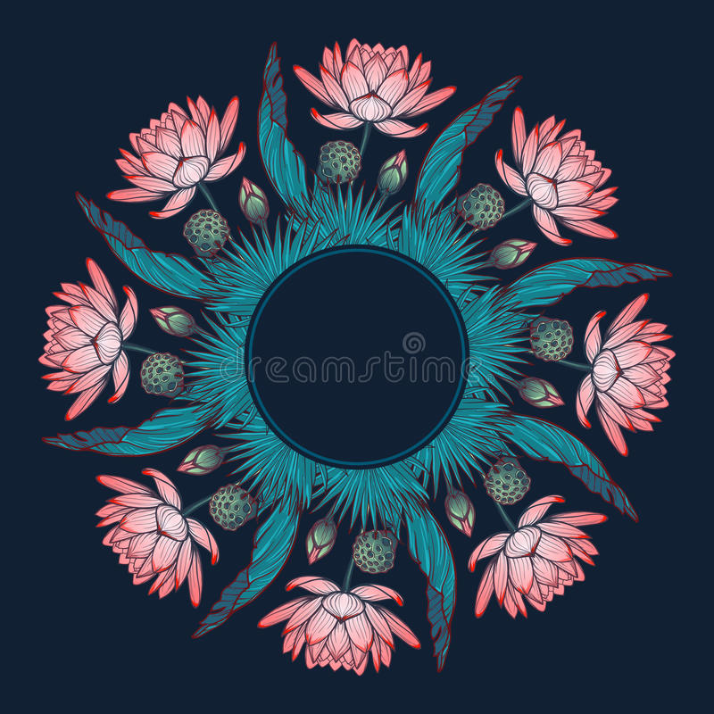 Lotus background. Floral decorative ornament. Water lilies palm tree and banana leaves arrenged in circular wreath stock illustration