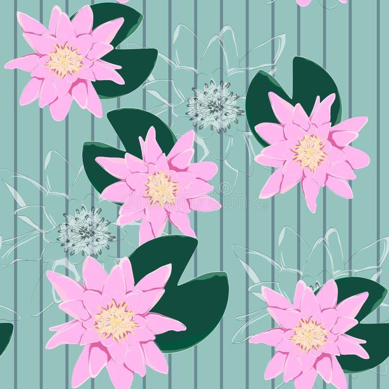 Lotus Background Modello floreale con le ninfee rosa Sveglio nenuphar senza cuciture illustrazione di stock