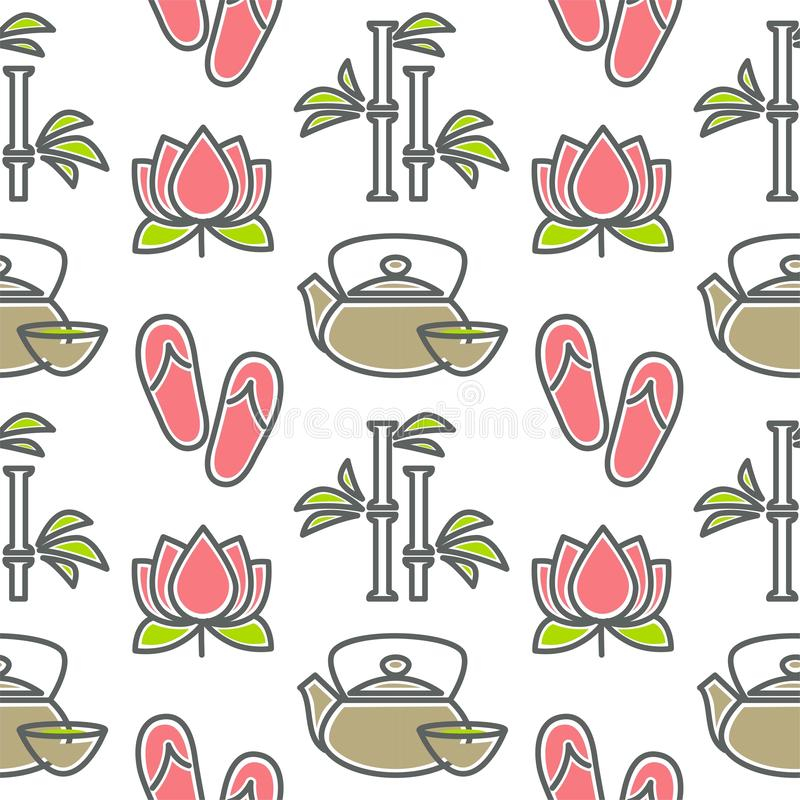 Lotus and bamboo spa and beauty teapot and cup seamless pattern vector illustration