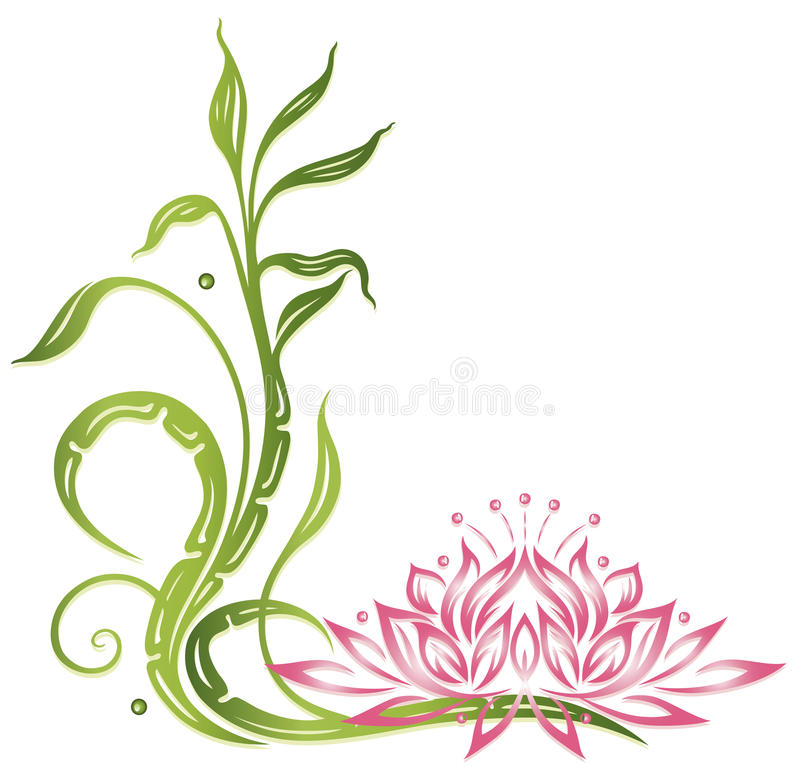 Lotus, bambu ilustração stock