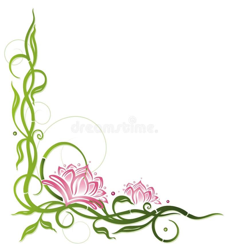 Lotus, bambu ilustração do vetor