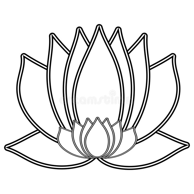 Lotus. The Black and white flower is a symbol of purity and enlightenment. You can use as a logo, trademark, icon. Suitable for il vector illustration