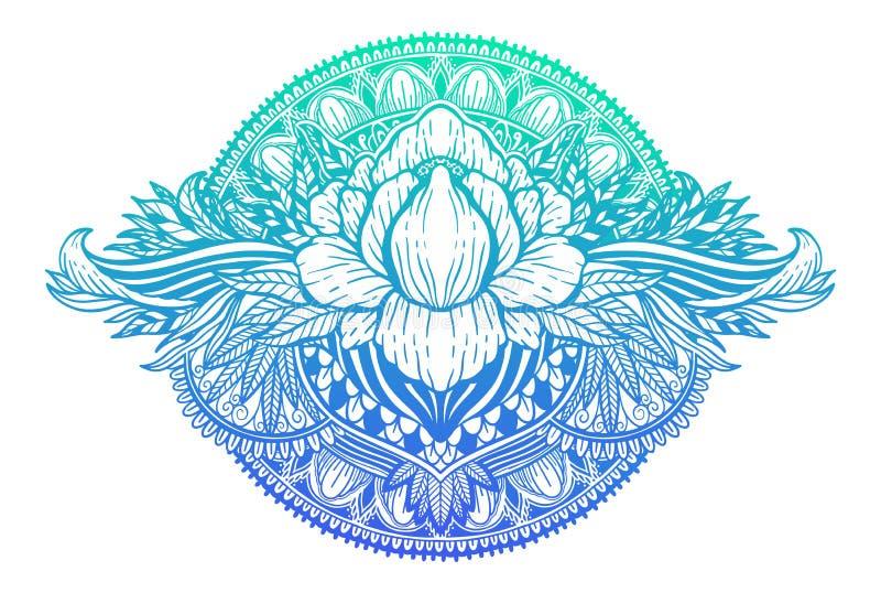 Lotus-bloem etnisch symbool Gradi?ntpastelkleur op witte achtergrond Het motief van het tatoegeringsontwerp, decoratieelement Tek royalty-vrije illustratie