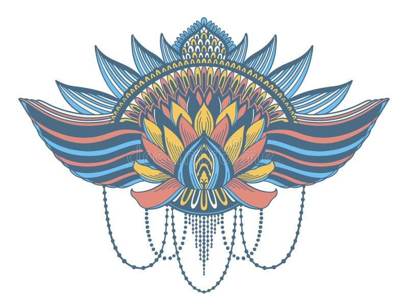 Lotus-bloem etnisch symbool Het motief van het tatoegeringsontwerp, decoratieelement Teken Aziatische spiritualiteit, nirvana en  stock afbeelding
