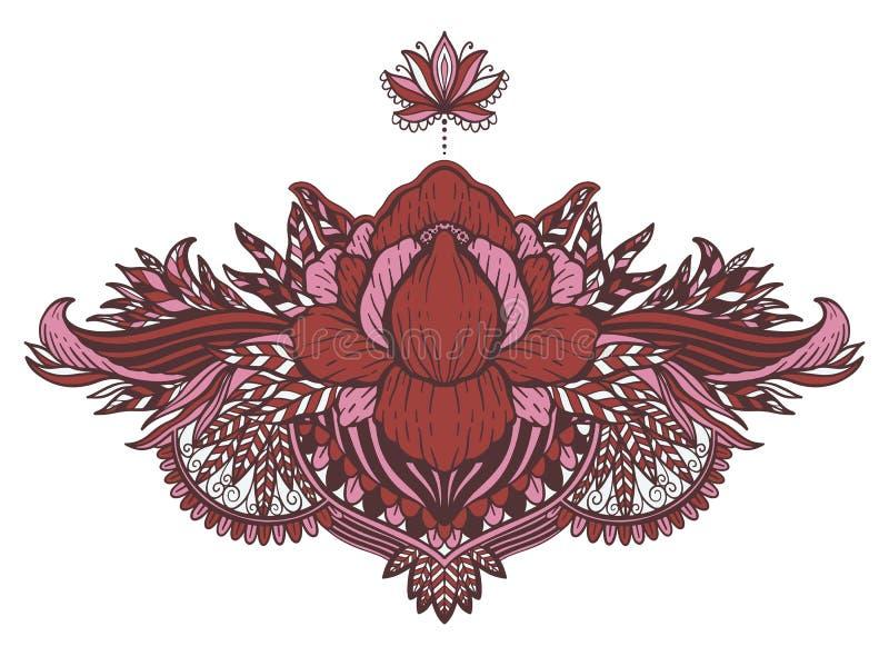 Lotus-bloem etnisch symbool Het motief van het tatoegeringsontwerp, decoratieelement Teken Aziatische spiritualiteit, nirvana en  royalty-vrije stock foto