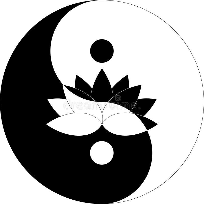 Lotus-bloem in Yin Yang-zwart-wit symbool stock afbeelding