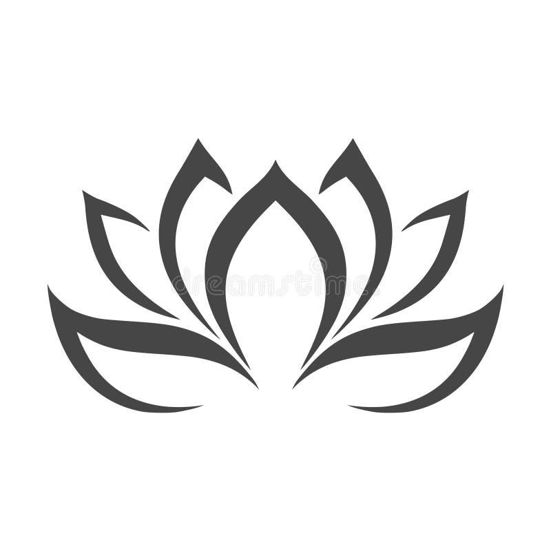 Lotus-bloemembleem, Lotus-bloempictogram, eenvoudige vectorillustratie stock illustratie