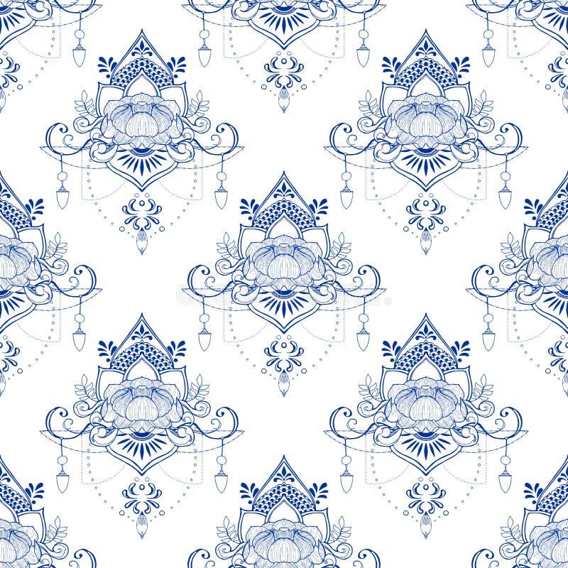 Lotus blomma i sömlös modell för mandalameditationstil i porslinsignal eller ljus - blått- och vitbakgrund royaltyfri illustrationer
