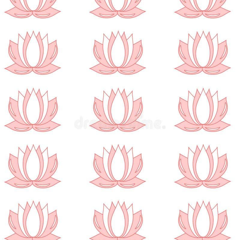 Lotus blommamodell Sömlös bakgrund av modellen för vektor för lotusblommablomma för rengöringsduk stock illustrationer