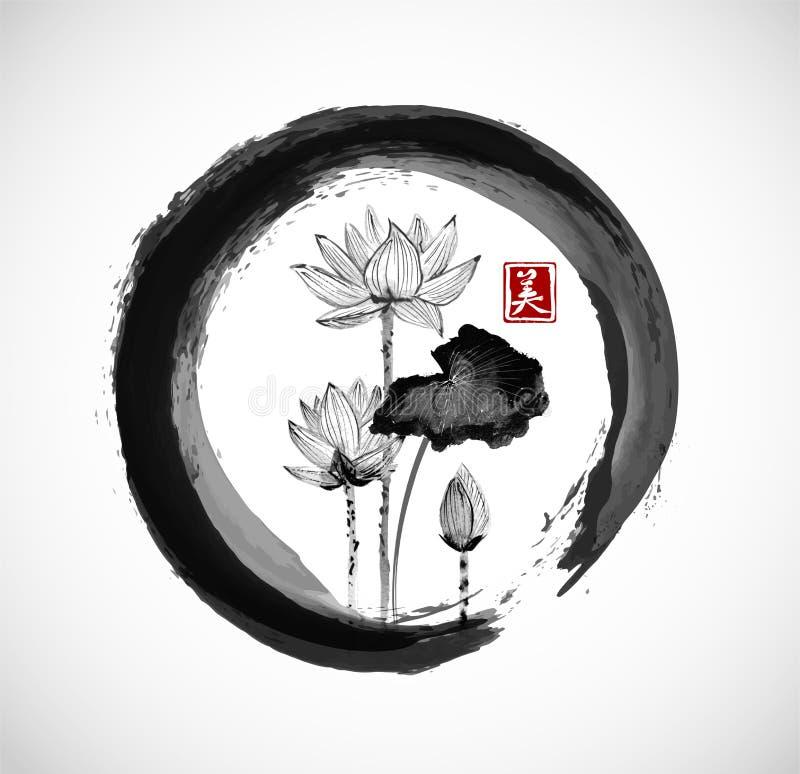 Lotus blommor i svart ensozencirkel stock illustrationer