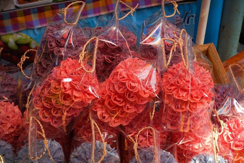 Lotus Blossom Cookie Kanom Dok curruscante Jok fotografía de archivo