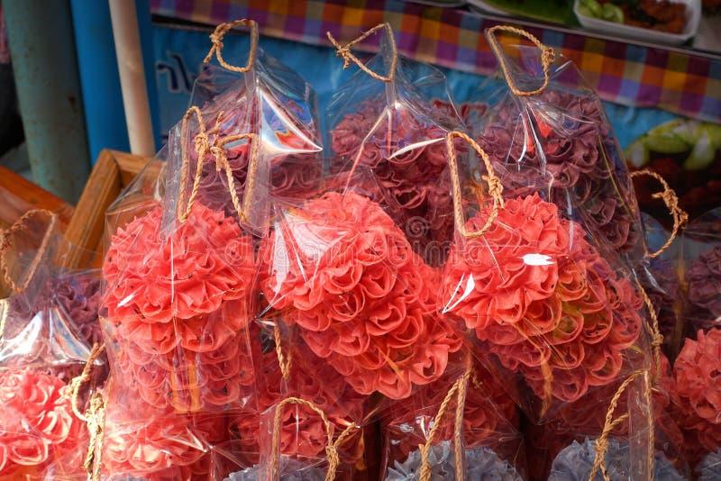 Lotus Blossom Cookie Kanom Dok curruscante Jok foto de archivo libre de regalías
