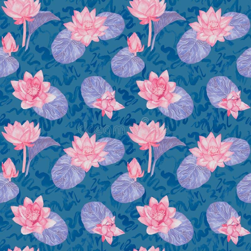 Lotus-Blumen und Blätter und gelockte Wasserwellen, nahtloses Musterdesign, handgemaltes Aquarell auf blauem Hintergrund vektor abbildung